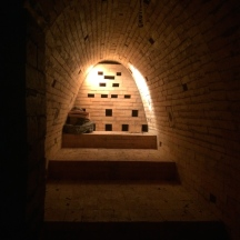Inside the kiln, checker wall almost complete