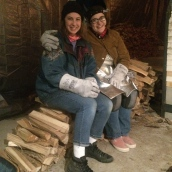 Brittany Crawford and I firing the kiln